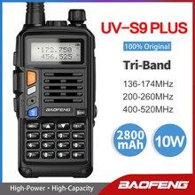 Baofeng walkie talkie com carregador usb, poderoso, banda tripla, 10w, 220 260mhz, transceptor uv, rádio atualizado