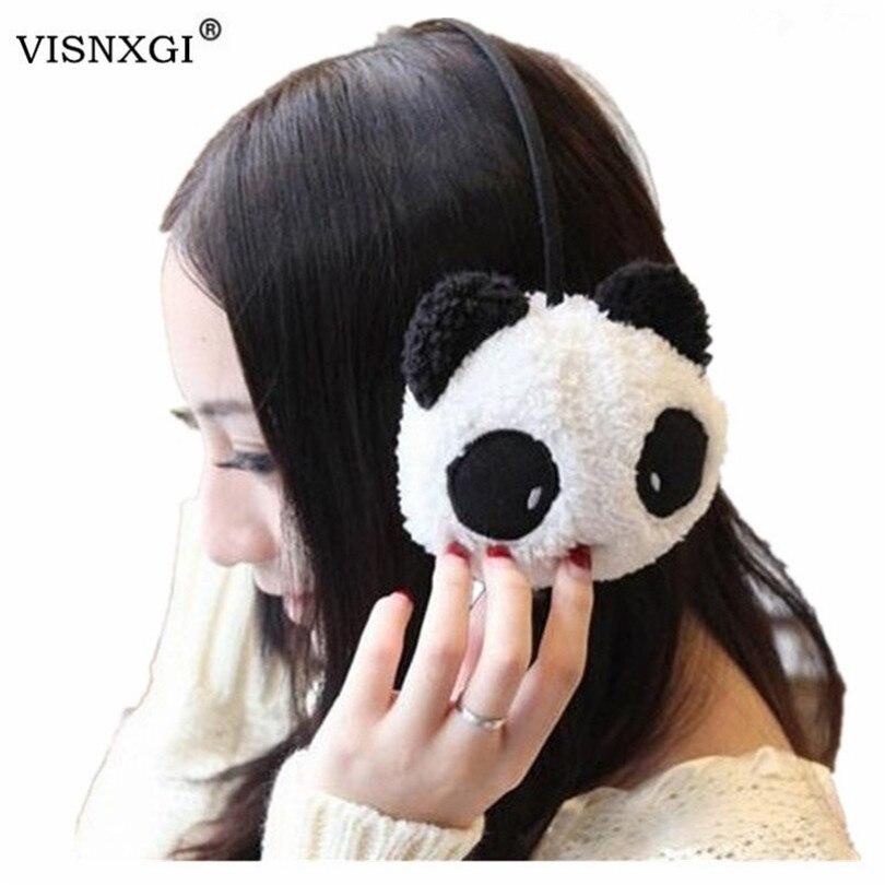 VISNXGI Women 2019 New Gilrs Black White Small Panda Design Pad Fluffy Ear Warmer Earmuffs Winter Cute Panda Ear Muff Warmer