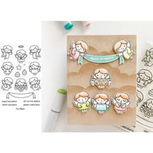 Cute Girl Angels Christmas Joy Peace Happy Good Wishes Words Transparent Clear Stamps for DIY Scrapbooking Cards Crafts 2019 New