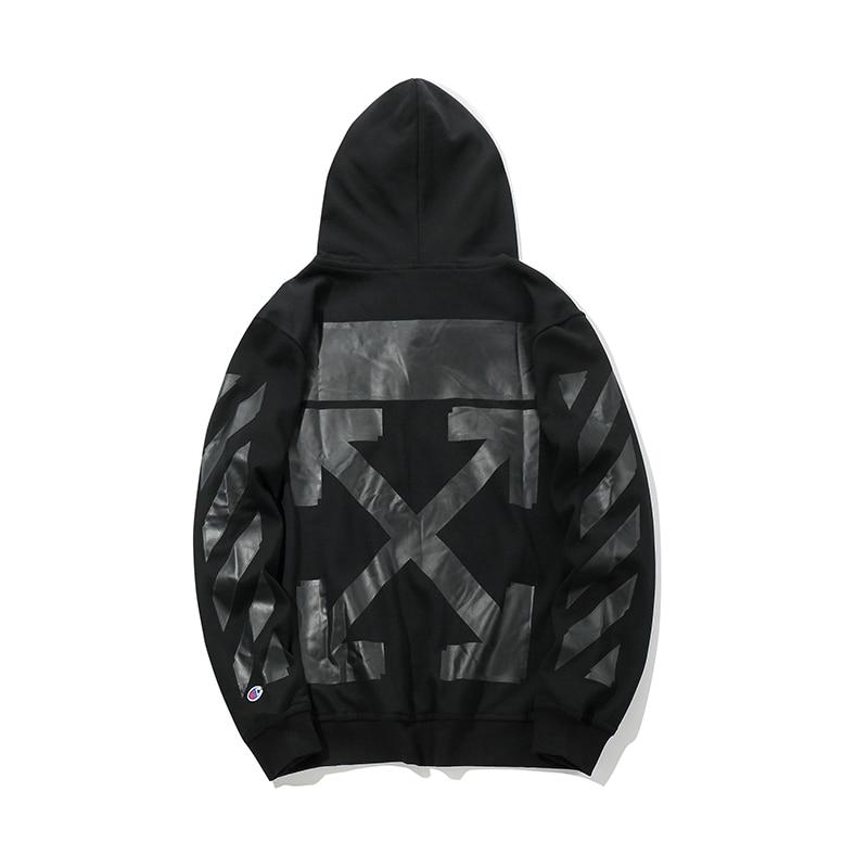 Черная стрела 19ss Off White OW для мужчин и женщин для влюбленных осень зима хлопок мода уличная куртка с капюшоном Толстовка - 6