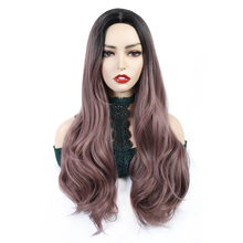 цена на Long Ombre Wavy Wigs Brown Grey Black Pink Middle Part Cosplay Synthetic Wigs For Women Long Hair Wigs Fake Hair