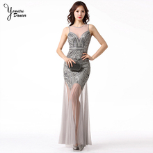 Retro Style Sequin Stage Performance Clothes Wedding Evening Dress Costume Sexy Mesh Dress for Dancing Black Stage Dance Wear