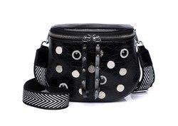 Frauen mode split leder stud + resinstone gürtel tasche taille packs