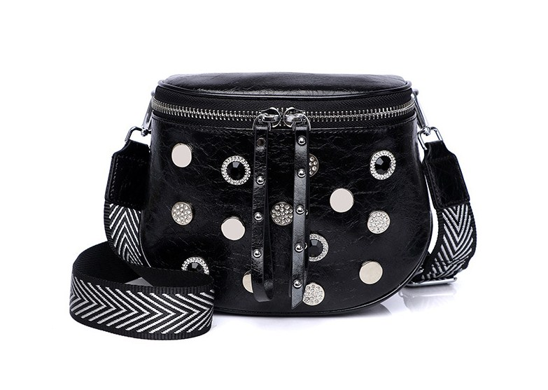 Women Fashion Split Leather Stud+resinstone Belt Bag Waist Packs