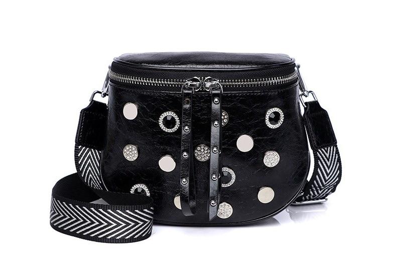 Women Fashion Split Leather Stud+resinstone Belt Bag Waist Packs