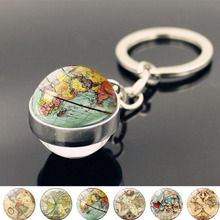 WG 1pc Retro World Map Keychain Pendant Cabochon Time Jewel Crystal Glass Ball Keychain Creative Gift For Women Jewelry hot fashion personality long chain sports series football basketball time glass cabochon keychain jewelry pendant small gift