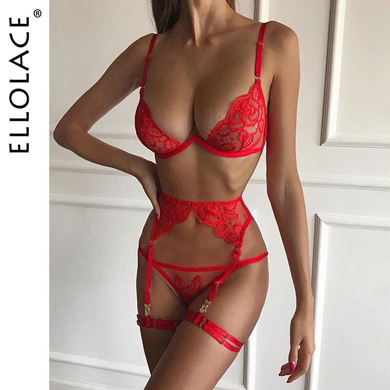 Ellolace Sexy Lingerie Women Underwear Set 2 Piece Bra Party Set Deep-V Lingeries Red Mesh Set Wholesale 2020 New
