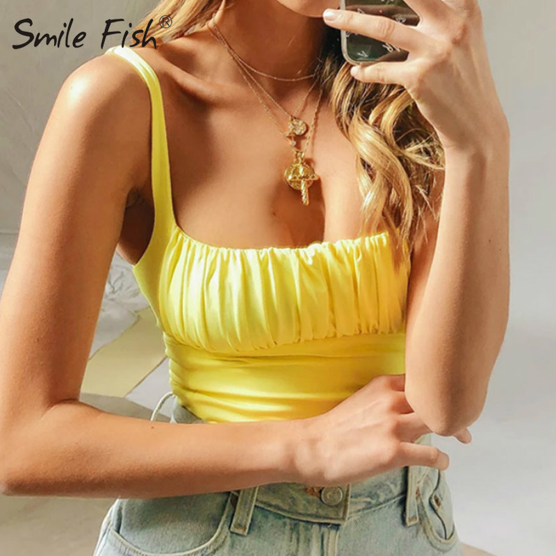 Summer Sweet Color Ruched Pleated Casual Streetwear Short Gothic Camis <font><b>Sexy</b></font> <font><b>Femme</b></font> Women <font><b>Crop</b></font> <font><b>Top</b></font> Tees Camis Tank <font><b>Top</b></font> G1566 image