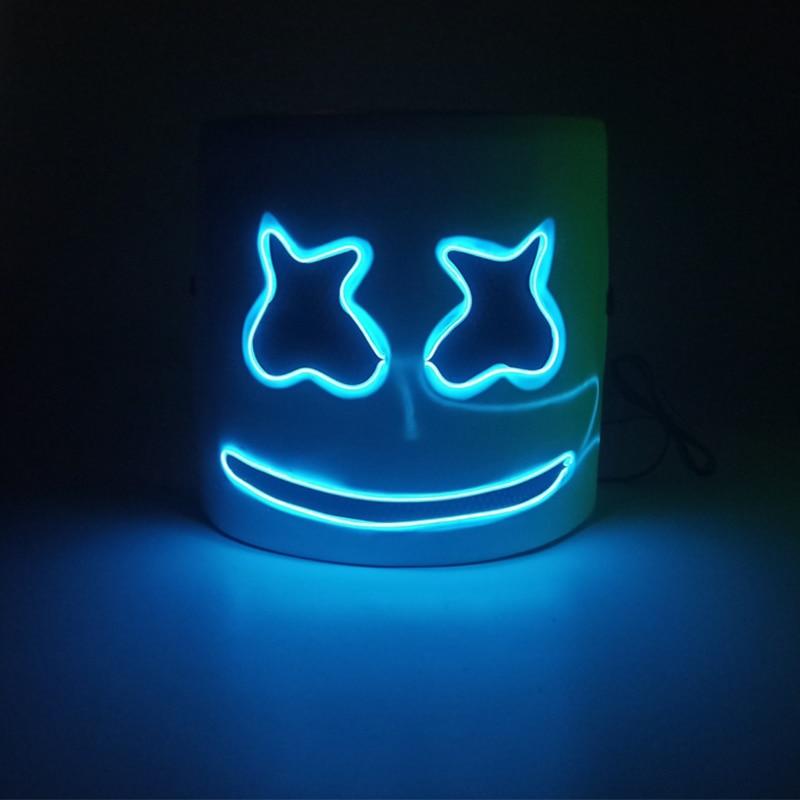 WWWL M/áscara de Halloween M/áscara Luminosa Casco M/áscara Cosplay Prop DJ Halloween Fiesta Luminosa DJ Marshmallow M/áscara Halloween Fiesta Cosplay withoutGlowingmask