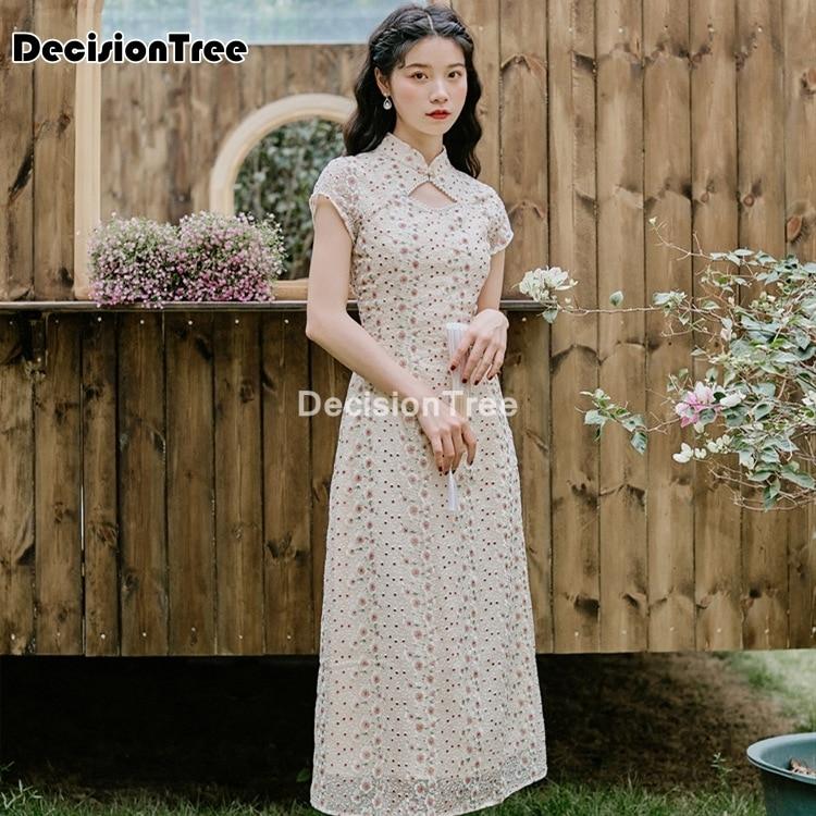 2021 chinese dress party dress oriental mandarin collar qipao lace retro satin dress chinese dress elegant lady party dress