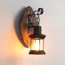 Старинный винтажный настенный светильник Деревянный стеклянный