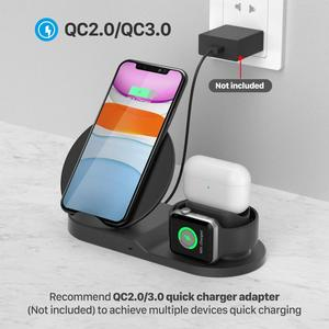 Image 5 - 10W אלחוטי מטען תחנת USB C 3 ב 1 מהיר טעינת Stand עבור אפל שעון 5 4 3 2 1Airpods פרו Dock עבור iPhone 11 XS XR X 8