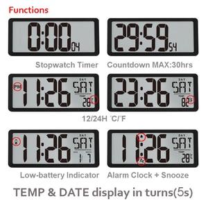 "Image 4 - TXL שעון קיר מרובע סדרה, 13.8 ""דיגיטלית גדולה ג מבו מעורר שעון, תצוגת LCD, רב תפקודי ענק עיצוב משרד שולחן"