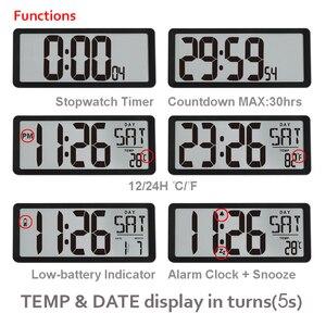 "Image 4 - TXL Square Wall Clock Series, 13.8"" Large Digital Jumbo Alarm Clock, LCD Display, multi functional huge office decor desk"