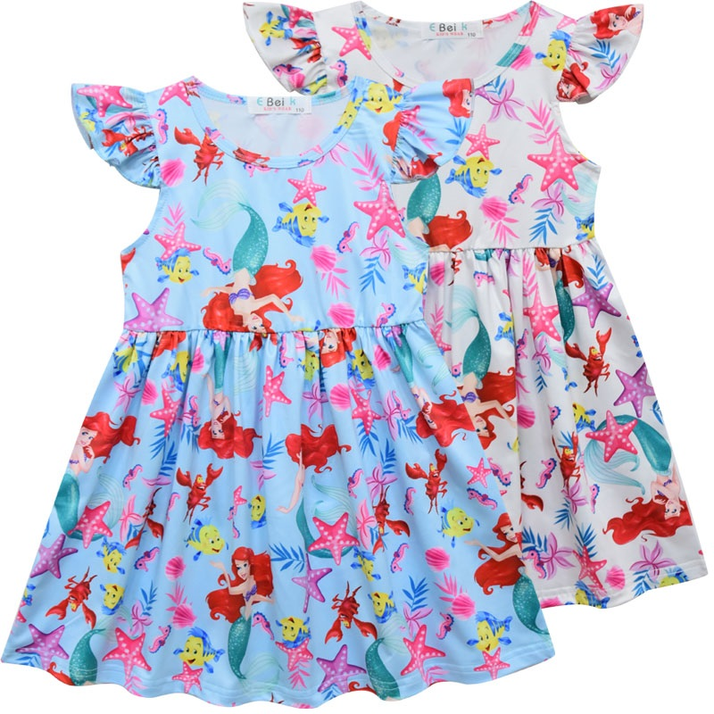 Newest Cartoon Little Mermaid Ocean Printed Carnival Kids Clothes Ruffles Sleeveless Floral Princess Dresses