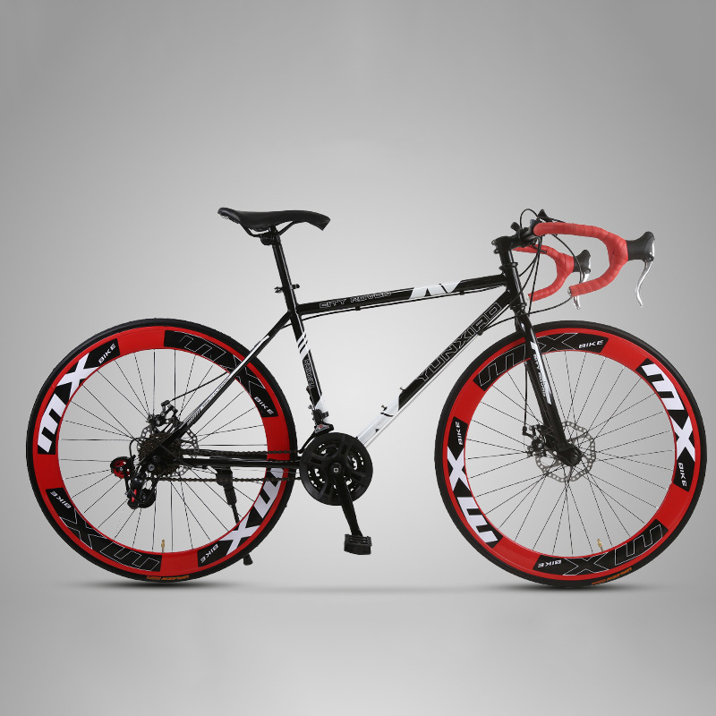 26 Inch Road Bike Fixed Gear Bicycle 24 Speed Croissant Bend Double Disc Brake Road Racing Adult Male And Female Students