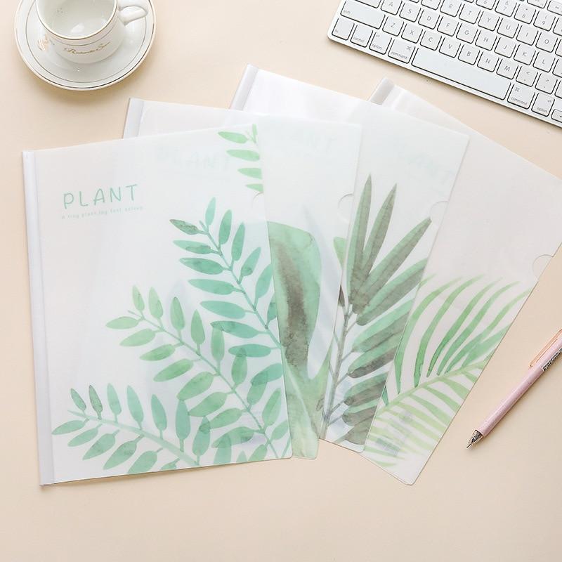 Coloffice A4 Green Plant PP Folder Small Fresh Student Test Paper Clip Office Folder Korean Cute Stationery School Supplies 1PC