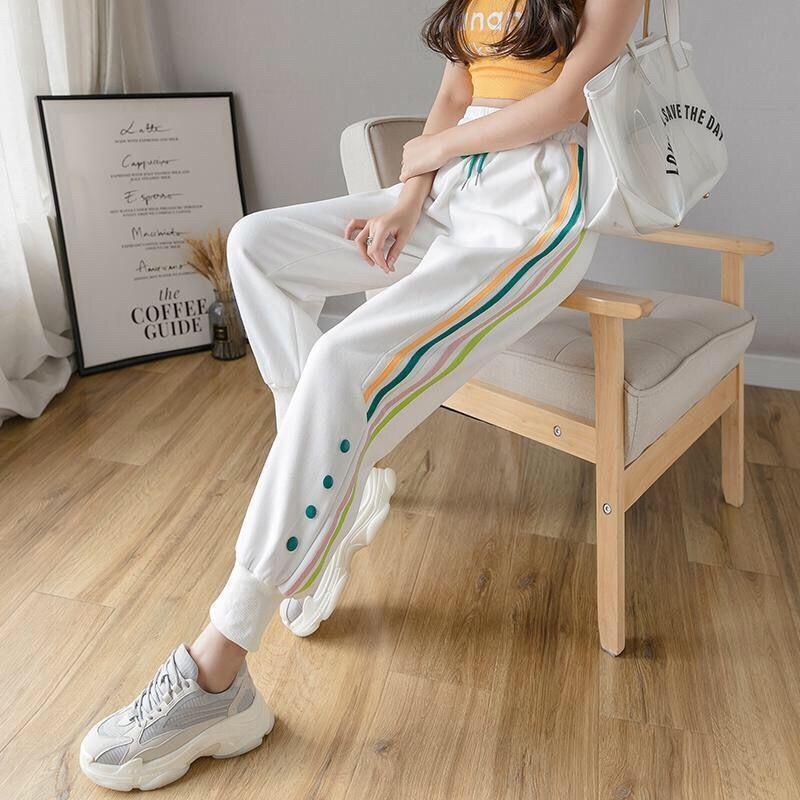 Женские спортивные брюки Harajuku, повседневные спортивные брюки С Разноцветными полосками сбоку, на пуговицах, 2020|Брюки |   | АлиЭкспресс