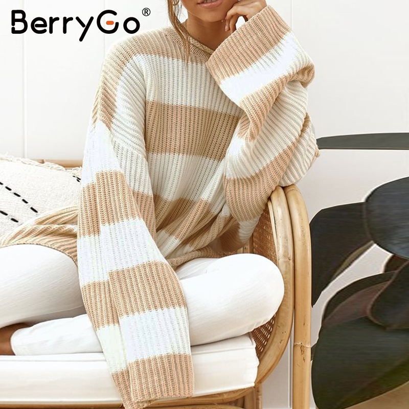 BerryGo Casual Striped Knitted Sweater Women O Neck Thick Pullover Female Jumper Loose Soft Streetwear Wool Sweater Winter