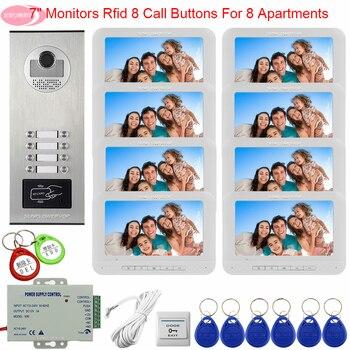 Для 8 дверной станции для видеодомофона контроль доступа 8 мониторов видеодомофон 7 дюймов цветные видеодомофоны для личного дома