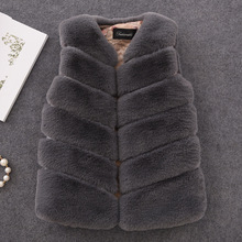 Infant 2019 New Winter Fur Vest for Girls Outerwear Thick Warm Faux Fur Vest V-neck Short Fur Vest for 12m-16y Children Clothing