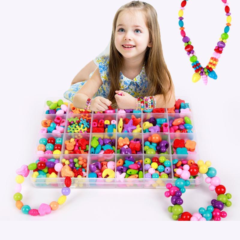 Bead Kit Plastic Acrylic Kids Jigsaw Puzzle Geometric Shape Beads Toys Girls DIY Jewelry Making Stringing Beads Bracelets Toys