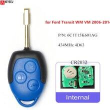 Запасной пульт дистанционного управления Keyecu с 3 кнопками 433 МГц 4D63 для Ford Transit WM VM 2006-2014 6C1T15K601AG, необработанное лезвие FO21