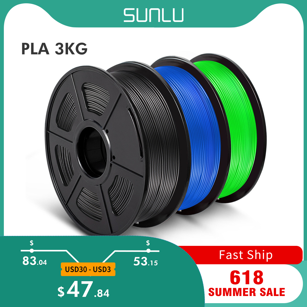 SUNLU PLA нити комплект 3 рулонов 1,75 мм для 3D принтер 100% не образующая пузырей отличного качества пластиковые нити для детей каракули