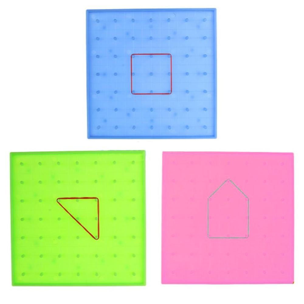 Plastic Nail Plate Primary Mathematics Nailboard Geometry Demo Educational Teach Instrument Puzzle Game Toy Dropshipping 14*14cm