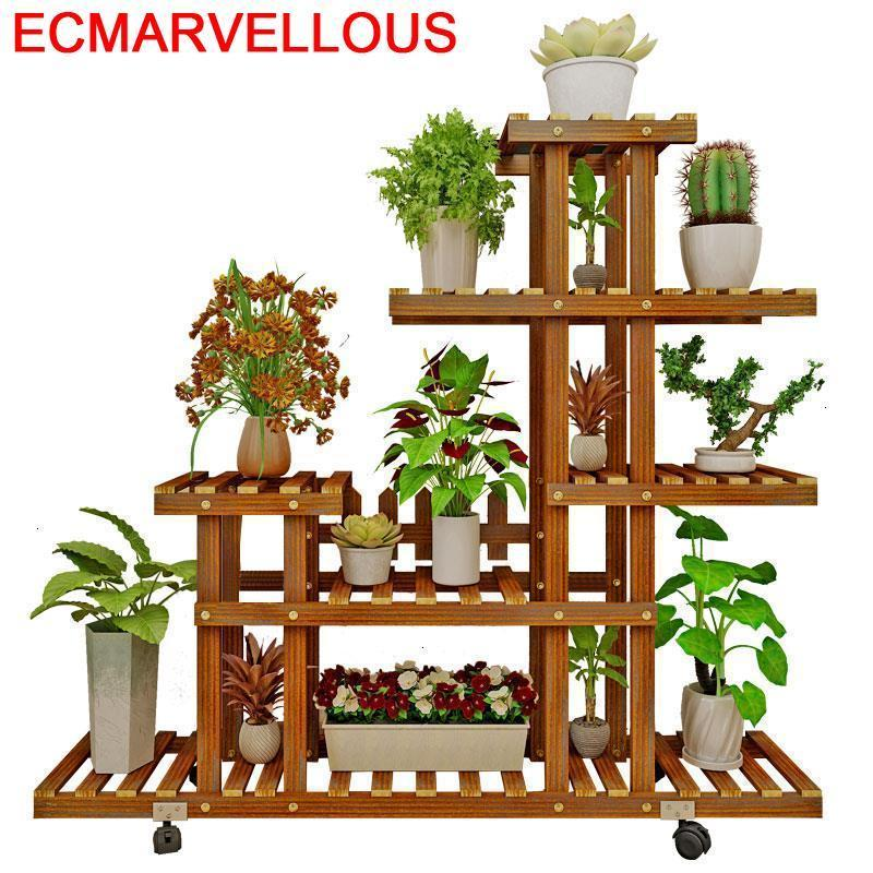 Wooden Shelves For Rak Bunga Escalera Decorativa Madera Indoor Pot Outdoor Stojak Na Kwiaty Balcony Flower Shelf Plant Stand