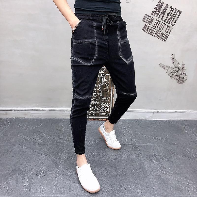 Fashion 2020 Spring Men Casual Pants Korean Slim Fit Big Pocket Design Trousers Men Streetwear All Match Pants Men Clothes 36-28