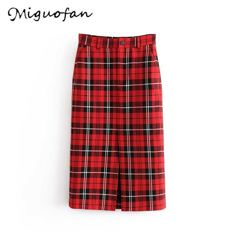 נשים חצאיות מכללת שיק חורף אופנה חצאית ישר גבוה מותניים בציר Faldas Mujer Moda מזדמן הסטודנטיאלי סגנון משובץ חצאיות