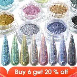 Image 1 - Gradient Laser Mirror Glitter Powder Holographic Sequins Nail Art Chrome Pigment Sparkly Paillette Manicure Decoration JI1028
