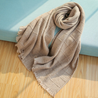 Luxe Pure Cashmere Scarf Plaid Blanket Wraps Winter Shawl Women Pashmina Scarves High Quality Designer Solid Color Ladies Scarfs
