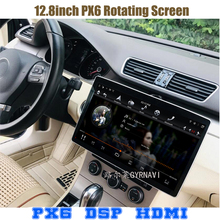 12,8 zoll Rotation 2 doppel din IPS bildschirm PX6 android 9.0 voice control-auto universal gps radio player wifi usb bluetooth