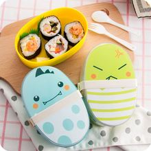 цена на Cute Cartoon School Lunch Box for Kids Double Layer Japanese Bento Boxes Plastic Food Containers Meal Prep with Spoon and Fork