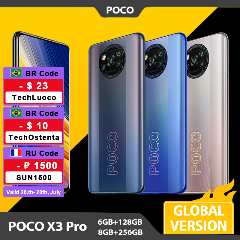 Global Version POCO X3 Pro 6GB 128GB / 8GB 256GB Mobile Phone Snapdragon 860 120Hz DotDisplay 732G 48MP Camera 5160 Battery NFC
