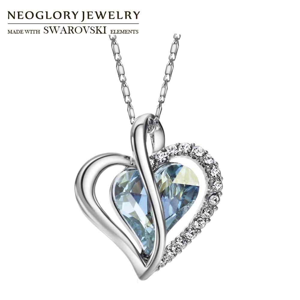 Neoglory Austria Crystal & Rhinestone Charm Pendant Choker Chain Necklace Love Heart For Women Collar Statement Mother's Day