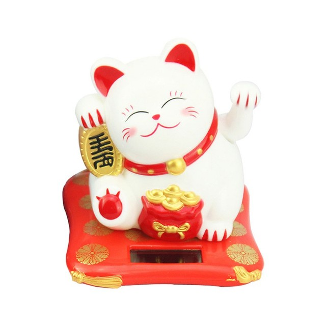 Solar Powered Ceramic Lucky Cat Maneki Neko Shaking Arm Beckoning Fortune Cat Home Car Decoration Gift Wealth Waving Arm Cat 5