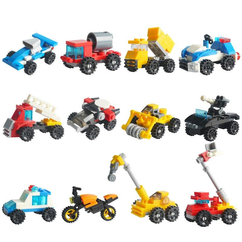 Mini Original Transportation Assembled Models Blocks Car Building Compatible Legoeinglys City Police Plane Bricks Toys Kid Gift