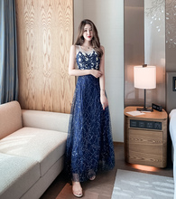 Will translate the host party  sequins sky elegant high-end dress is queen of aura