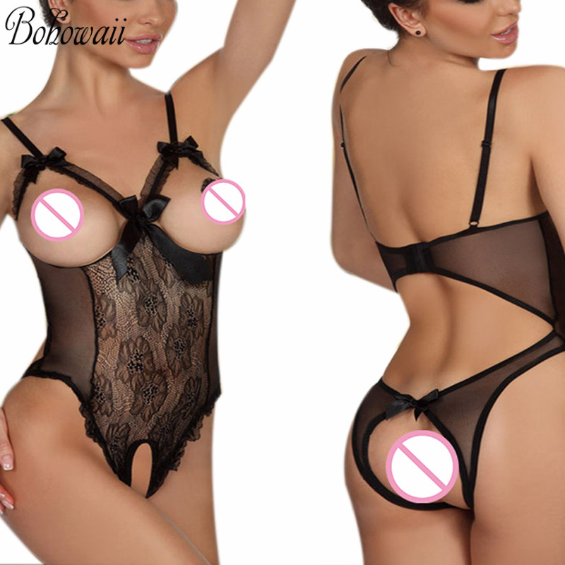 XXL Quality Body Sexy Crotchless Bodystocking Stretchy Lace Open Crotch Babydoll See Through Lingerie Fishnet Bodysuit