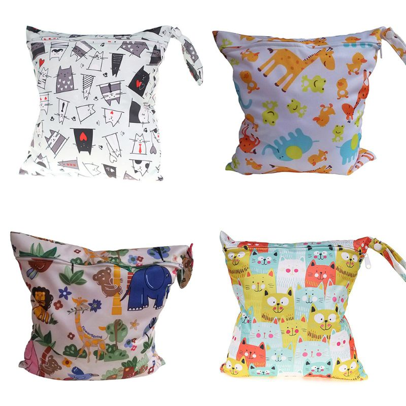 Washable Baby Wet Dry Bag Reusable Waterproof Zip Infant Nappy Pouch Swim Travel Bags