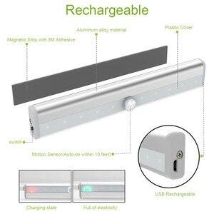 Image 3 - 10 LED אלחוטי Motion חיישן קבינט אור מגנטי מקל על USB נטענת חיישן אורות למטבח חדר שינה ארון אמבטיה
