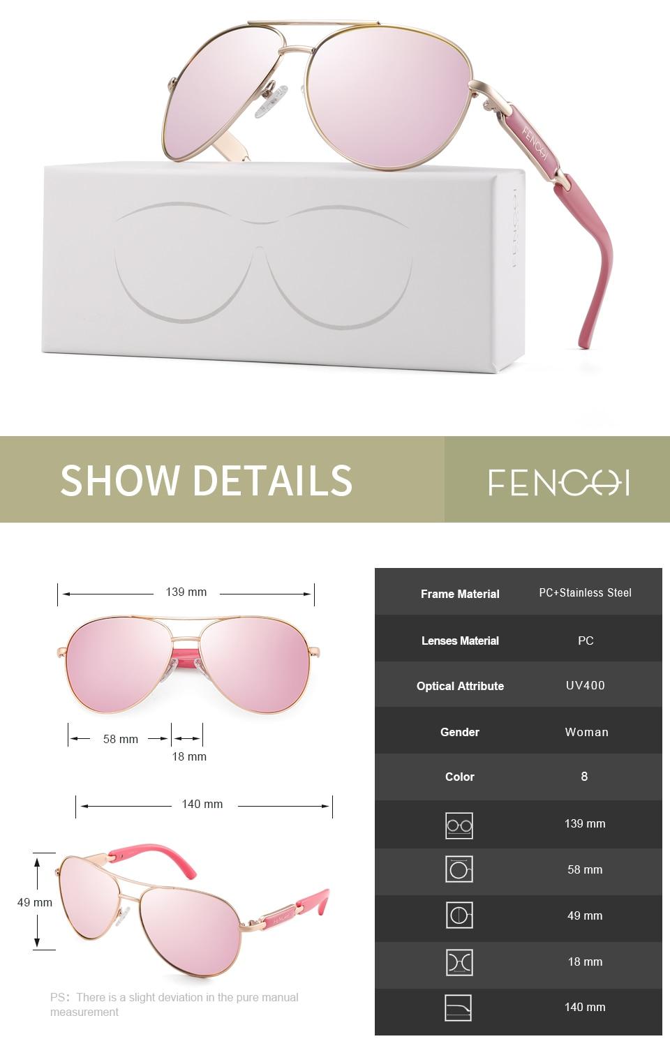 H09a026808d5c4b64ab8e2093ffdae91dP FENCHI Polarized Sunglasses Women Vintage Brand Glasses Driving Pilot Pink Mirror sunglasses Men ladies oculos de sol feminino