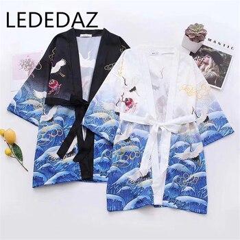 Summer New Fashion V Neck Print Kimono Cardigan Bow Sash 2020 Medium Long Open Blouse Top Plus Sizes 3/4 Sleeves Black White black plung v neck lantern long sleeves plain blouse