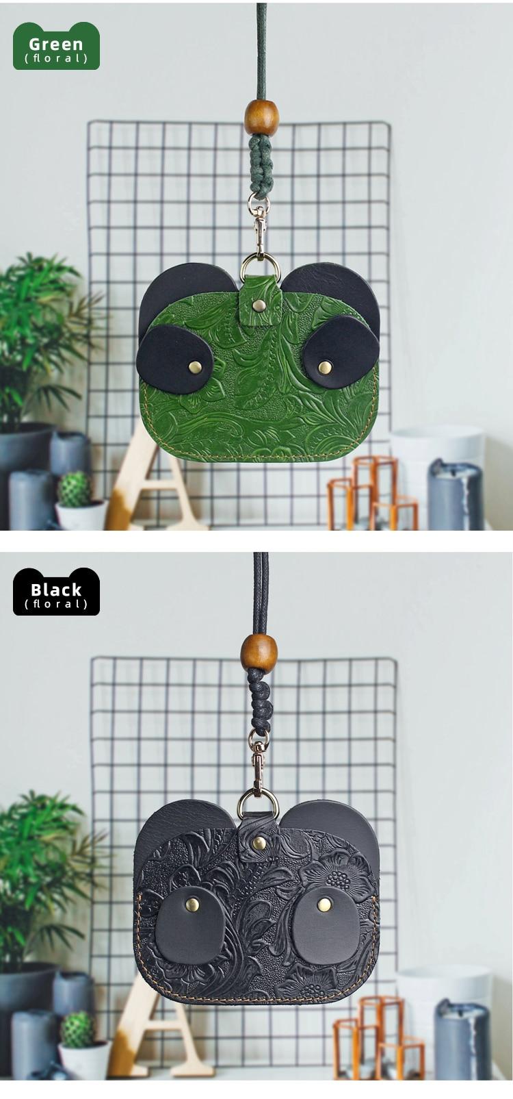 Panda padrão cordão titular do cartão saco