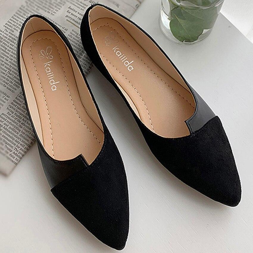 35-40 Leather Shoes Splice Color Shoe Ballerina Slip On Shoes Women Flats 2020 Fashion Pointed Toe Ballet Footwear Buty Damskie
