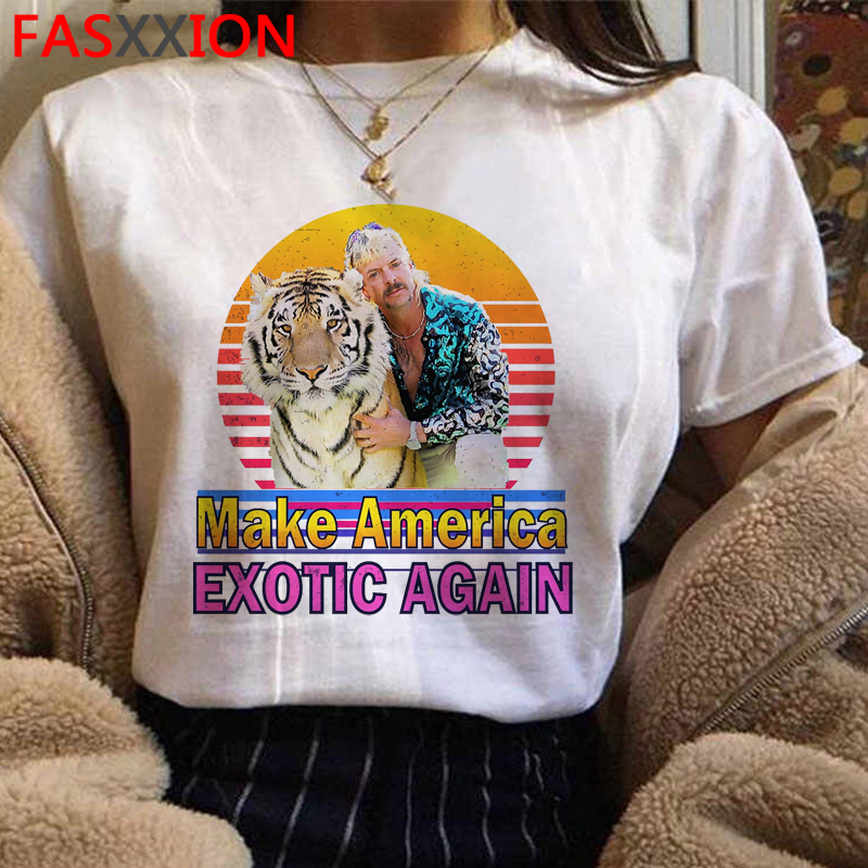 Joe Exotic Funny Cartoon T Shirt Women Make America Exotic Again Graphic T-shirt Harajuku 90s Tshirt Tiger King Top Tees Female