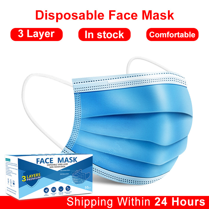 Disposable Mask For Man And Women Mascarilla Meltblown Cloth Earloop Face Mask 3-layer Breathing Safty Blue Mouth Masks